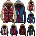 Men Padded Bubble Fur Hooded Zip Coat Winter Warm Puffer Quilted Jacket Parka