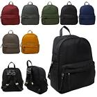 New Unisex Plain Nylon Showerproof School College Backpack Rucksack