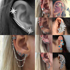 Fashion Crystal Clip Ear Cuff Stud Women's Men Punk Wrap Cartilage Earring Gift