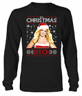 New! Britney Spears Its Christmas Bitch Knit Pattern Men Long Sleeve Shirt P356