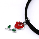 Mini Red Rose Charm Choker, Pendant Black Faux Suede, Retro Necklace, Punk Goth