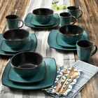 16-Piece Beautiful Square Dinnerware Set Kitchen Plates Dishes Mugs Bowls