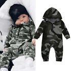 Newborn Baby Boys Girls Camouflage Print Hooded Romper Jumpsuit Clothes Outfits