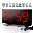 US Dimmable LED Digital Clock Radio Alarm Snooze Timer USB Chargin 12/24 Hour
