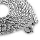 18K White GOLD Plated Rope Chain Stainless Steel Link Mens Hip-Hop Necklace