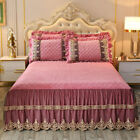 Luxury Lace Embrodery Velvet Quilted Bedspread King Pillow Shames 3-piece Soft