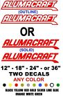 ALUMACRAFT BOAT stickers decals PAIR  ANY COLOR  ANY SIZE    trailer