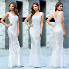 Ever-Pretty US Sequin V-neck Long Formal Prom Dresses Mermaid Evening Party Gown