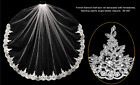 Bridal Veil 1 Tier French Alencon Lace Beaded With Comb 2-3162U