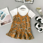 Toddler Baby Girls Kids Clothes Floral T-shirt Tops+Casual Overall Dress Outfits