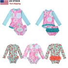 US Kid Girls Floral Printed Swimsuit Swimwear Bathing Tops Bottoms Suit Swimming