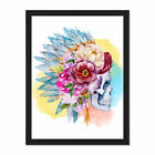 Skull+Decorated+With+Flowers+Framed+Wall+Art+Print+18X24+In
