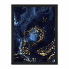 Abstract+Dark+Blue+Gold+Waves+Framed+Wall+Art+Print+18X24+In