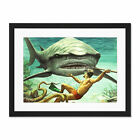 Painting+Shark+Attack+Diver+Spear+Adventure+Framed+Wall+Art+Print+18X24+In