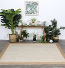 Hand Made Flatwoven Jute Cream Natural Solid Centre Lorien Design Floor area Rug