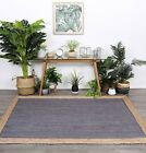 Hand Made Flatwoven Jute Grey Natural Solid Centre Lorien Design Floor area Rugs