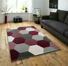SMALL - LARGE GREY AND PURPLE HEXAGONS PATTERNED GEOMETRIC RUG