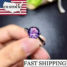 US STOCK Uloveido Amethyst Solitaire Ring, 925 Sterling Silver, 8*8mm Certified