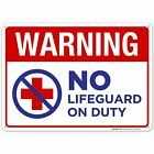 Warning No Lifeguard On Duty Sign. Pool Sign $12.99 USD on eBay