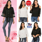 US Fashion 3/4 Bell Sleeve Blouse U/V Neck Mesh Panel Top Shirt Loose Casual NEW