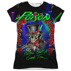 Authentic Poison Band Nothin But A Good Time Allover Front Ladies Jr T-shirt top