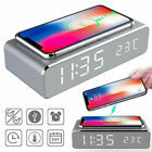 Electric Led Alarm Clock With Phone Wireless Charger Thermo Desktop Digital