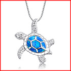 """925 Sterling Silver Created Sea Turtle Pendant Necklace 18"""""""