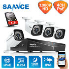 SANNCE HD 1080P POE NVR 2MP Video Outdoor IP Network Home Security Camera System