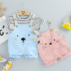 Toddler Baby Kids Boys Girls Stripe Tops T-Shirt+Bear&Cat Overall Pants Outfits