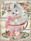 Kitten Teacup Roses Collage Art Repro Fabric Crazy Quilt Block Free Shipping (H4