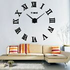 Large DIY 3D Wall Clock Roman Numerals Mirror Stickers Decal Art Home Decors
