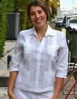 Guayabera Blouse Linen Chacavana 4 Pkt. 3/4 Sleeve in 3 Colors - LLGB1081
