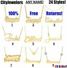 Kyпить Personalized Sterling Silver Gold Plated Any Name Plate Script Chain Necklace  на еВаy.соm