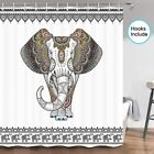 Indian Mandala Floral Elephant Fabric Shower Curtain &12 Hooks 70 In