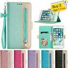 For Iphone 11 Xs Max Xr 7 8+ 6s Women Lace Leather Wallet Card Slot Zipper Case