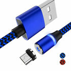 1x Nylon Magnetic Charger Fast Charging Cable Micro USB/Type C Plug For Android