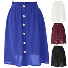 Women Vintage Button Front Elastic Waist Sheer A Line Pleated Flared Midi Skirts
