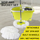 360° Spin Mop Bucket Set Spinning Stainless Steel Rotating Wet Dry Microfiber