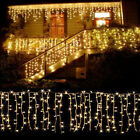 US 10~100FT 96-960 LED Icicle Curtain Hanging Xmas String Lights Warm White Lamp