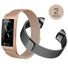 Fitbit Charge 3 / 4 Wristband Stainless Steel Milanese Magnetic Band Strap 2 PCS image