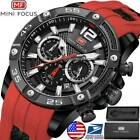 Mens Wristwatch Analog Quartz Chronograph Watch Leather Sport 3ATM waterproof image