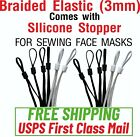 """20/50/100/PIECES - 1/8"""" Braided Elastic comes with Silicone Stopper Mask Sewing"""