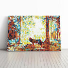 Wolf in the Blue Forest Oil Paint Framed Canvas Print Wall Art Picture