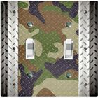 Metal Light Switch Cover Wall Plate Multi Camouflage Patten Crosshatch CAM005