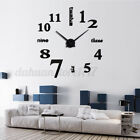 Large Wall Quartz Clock 3D Mirror Sticker DIY Decor Big Number Silence  US f