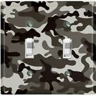 Metal Light Switch Cover Wall Plate Camouflage Gray Pattern