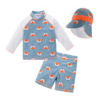 Bilo Kid Baby Boys Chic Foxes Printed One-Piece Rash Guard with Sun Hat Swimsuit