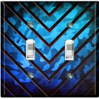 Metal Light Switch Cover Wall Plate Kids Room Metal V Blue Camouflage
