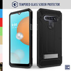 LG K51 Case with Glass Screen Protector, Rugged Holster & Kickstand - Evocel