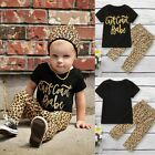 Toddler Kids Baby Boys Girls Letter Print T-shirt Leopard Print Pants Outfit Set